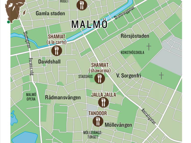 Falafel Mellanöstern Mat Malmö Karta