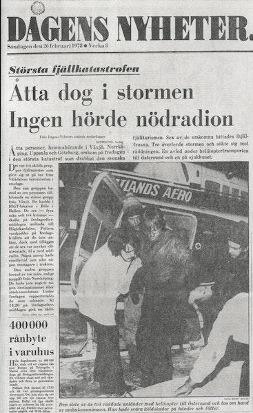 Den svåra olyckan gav stora rubriker. Här DN, söndag 26 februari 1978. / DN Arkiv.